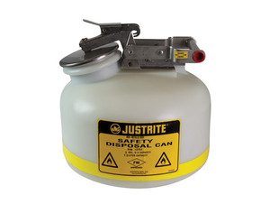 Justrite® HDPE, Steel Liquid Disposal Can, 2 gals, White