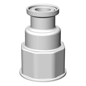"VersaBarb Spigot Fitting, 1-1/8"" Thread, 3/4"" Sanitary Connector"