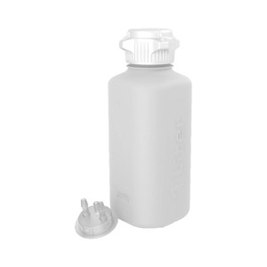 """Heavy Duty Vacuum Bottle, 1 Liter, PP, 53B VersaCap with 1/4"""" Barb Adapter & Closed Adapter"""