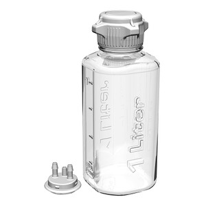 """Heavy Duty Vacuum Bottle, 1 Liter, PETG, 53B Cap with 1/4"""" Barb Adapter & Closed Adapter"""