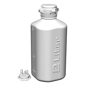 "Heavy Duty Vacuum Bottle, 2 Liter, HDPE, 53B VersaCap with 1/4"" Barb Adapter & Closed Adapter"