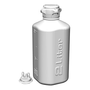 """Heavy Duty Vacuum Bottle, 2 Liter, PP, 53B VersaCap with 1/4"""" Barb Adapter & Closed Adapter"""