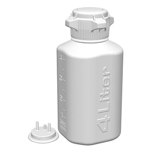 "Heavy Duty Vacuum Bottle, 4 Liter, HDPE, 83mm VersaCap with 1/4"" Barb Adapter & Closed Adapter"