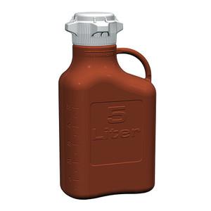 EZgrip Carboy, Amber HDPE, 5 Liter with 80mm VersaCap