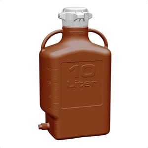 EZgrip Carboy, Amber HDPE, 10 Liter with 80mm VersaCap and Spigot