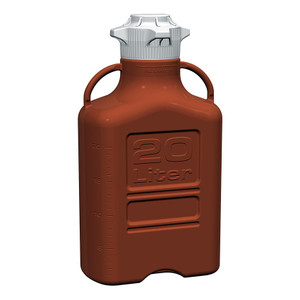 EZgrip Carboy, Amber HDPE, 20 Liter with 120mm VersaCap