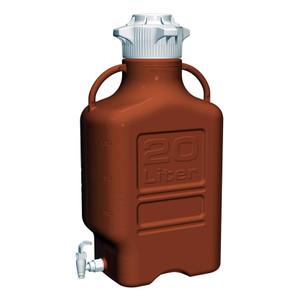 EZgrip Carboy, Amber HDPE, 20 Liter with 120mm VersaCap and Spigot