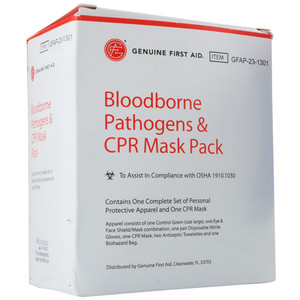 Bloodborne Pathogens & CPR Mask Pack First Aid Kit, case/12