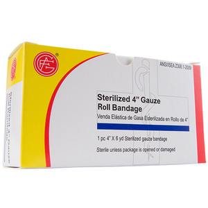 "Gauze Bandage, 4"" x 6 yds First Aid Kit Refill, case/50"