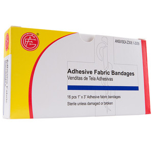 "Fabric Bandage, 1"" x 3"" First Aid Kit Refill, case/100"