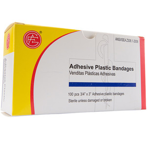 "Adhesive Plastic Bandage, 3/4"" x 3"", 100 pieces/box First Aid Kit Refill, case/50"