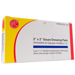 "Gauze Dressing, 2"" x 2"" First Aid Kit Refill, case/100"