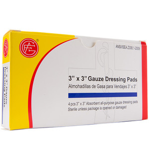 "Gauze Dressing, 3"" x 3"" First Aid Kit Refill, case/100"