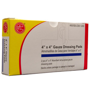 "Gauze Dressing, 4"" x 4"" First Aid Kit Refill, case/100"
