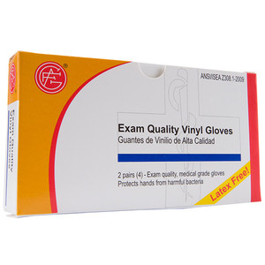 Vinyl Gloves, 2 pair per box First Aid Kit Refill, case/100