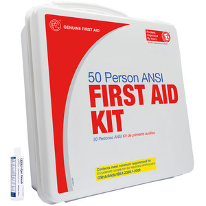 Basic Plastic with Eyewash First Aid Kit, 50 Person, case /5