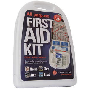 52 Piece Hard Sided All Purpose First Aid Kit, case/16