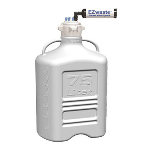 EZWaste® XL System, 75L, HDPE, 120mm VersaCap®, (6) 1/8 OD Fittings, Carbon Filter