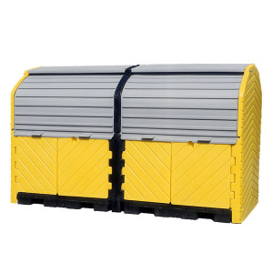 Hard Top 8-Drum Storage Building, Poly, Choose Drain