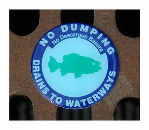 "Drain Marker Kit ""NO DUMPING"", 3-7/8"" with adhesive, pack/25"