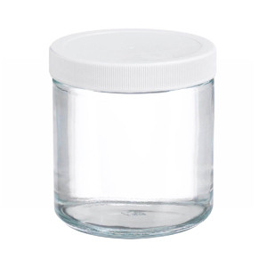 Certified Clean 4 oz Clear Glass Sample Jars with Screw Caps, Short, case/24