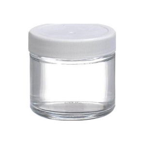 Certified Clean 2 oz Clear Glass Sample Jars with Screw Caps, case/24