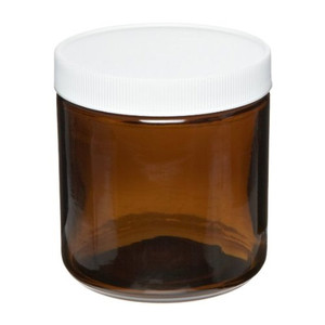 Certified Clean 2 oz Amber Glass Sample Jars with Screw Caps, 53-400, case/24