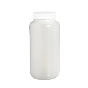 Certified Clean 16 oz Wide Mouth Sample Bottles with Screw Caps, HDPE, case/24