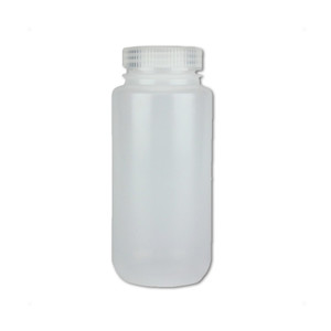 Certified Clean 16 oz Wide Mouth Sample Bottles with Screw Caps, HDPE, Nalgene, case/24