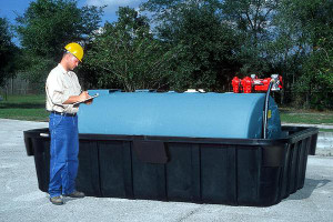 Black 1000 gal Large Tank Containment Sump, Choose Drain