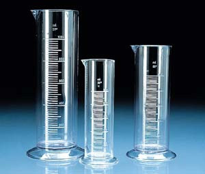 Graduated Cylinder, Low Form, SAN, Molded Graduations, 250mL, case/6