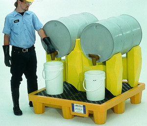 Yellow, Horizontal Drum Spill Pallet, 2-Drum System, Choose Drain