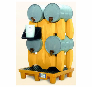 Horizontal Drum Spill Pallet, 4-Drum System, Yellow, Choose Drain