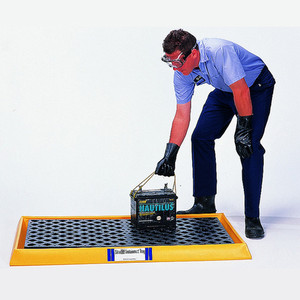 Secondary Containment Tray with Grate, Black