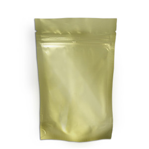 "Resealable Heat-Seal Bags, 4.5 mil Stand Up Gold-Foil Zipper Bags, 5 x 8"", case/500"
