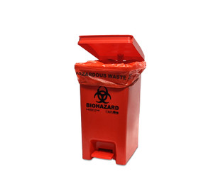 BowTie™ Biohazard Bin, hands-free foot pedal, 12-14 gallon capacity, Each
