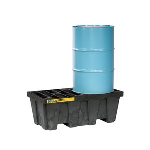 Justrite® EcoPolyBlend Spill Control Pallet, 2 Drum, Recycled Polyethylene, Black