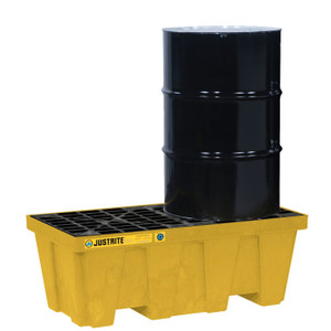 Justrite® EcoPolyBlend Spill Control Pallet With Drain, 2 Drum, Recycled Polyethylene, Yellow