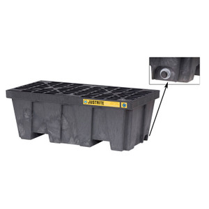 Justrite® EcoPolyBlend Spill Control Pallet With Drain, 2 Drum, Recycled Polyethylene, Black