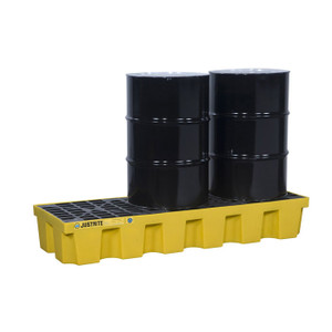 Justrite® EcoPolyBlend Spill Control Pallet With Drain, 3 Drum, Recycled Polyethylene, Yellow