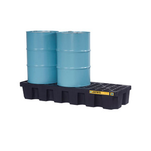 Justrite® EcoPolyBlend Spill Control Pallet With Drain, 3 Drum, Recycled Polyethylene, Black
