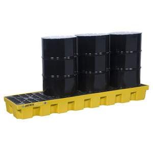 Justrite® EcoPolyBlend Spill Control Pallet With Drain, 4 Drum In-Line, Recycled Polyethylene, Yellow