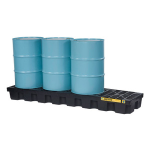 Justrite® EcoPolyBlend Spill Control Pallet With Drain, 4 Drum In-Line, Recycled Polyethylene, Black