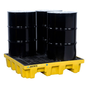 Justrite® EcoPolyBlend Spill Control Pallet With Drain, 4 Drum Square, Recycled Polyethylene, Yellow