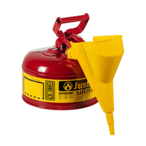 Justrite® Type I Steel Safety Can For Flammables, With Funnel 11202Y, 1 Gallon, Red