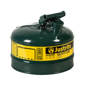 Justrite® Type I Steel Safety Can For Oil, 2.5 Gallon, Green