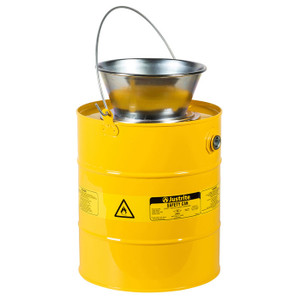Justrite® Drain Can With Plated Steel Funnel, 5 Gallon, Steel, Yellow