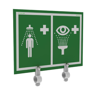 Justrite® Universal Safety Shower And Eye And Face Wash Sign With Brackets, Showers Without Insulation