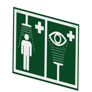 Justrite® Universal Safety Shower And Eye/Face Wash Sign For Wall Mounting