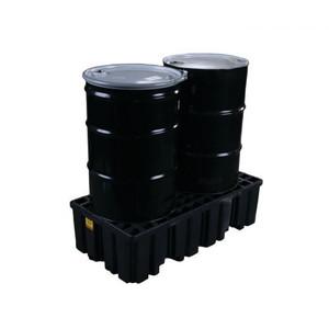 Eagle® 2 Drum Plastic Pallet, With Drain, Black